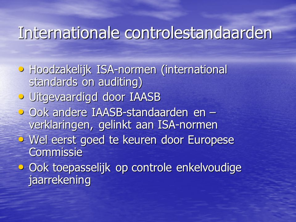 Internationale controlestandaarden