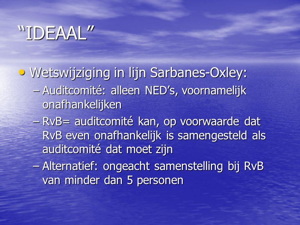 IDEAAL Wetswijziging in lijn Sarbanes-Oxley: