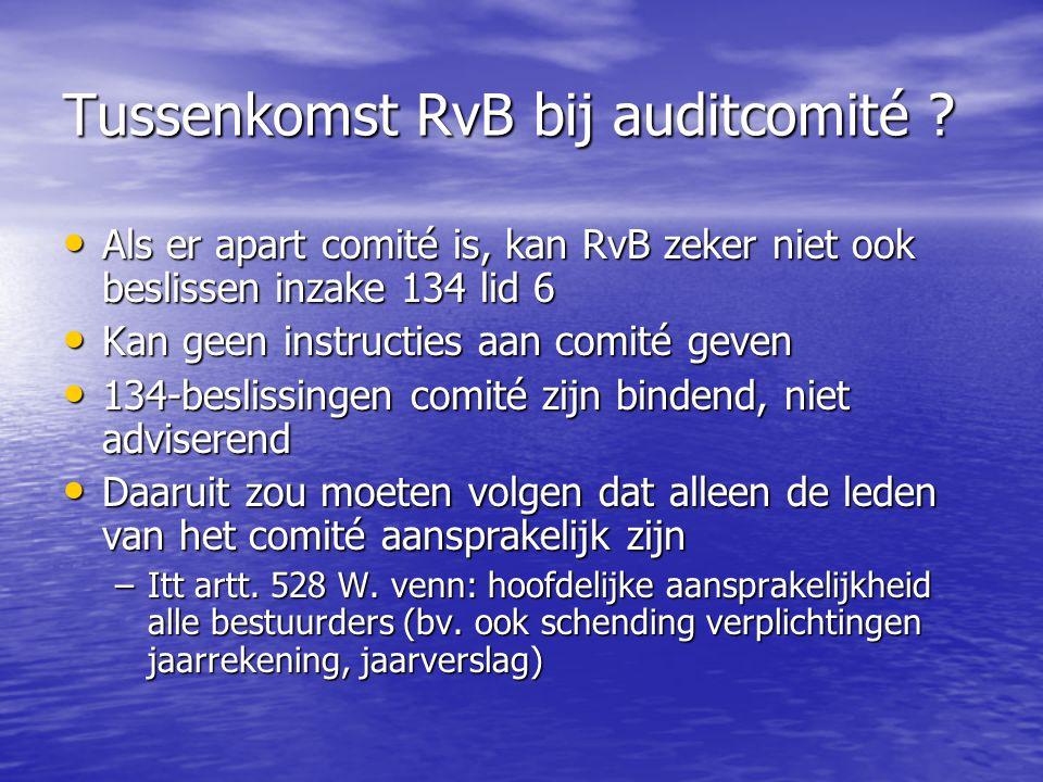 Tussenkomst RvB bij auditcomité