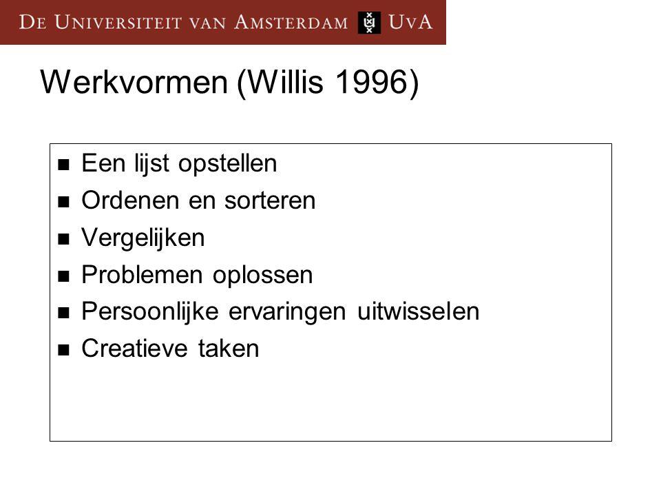 Werkvormen (Willis 1996) Een lijst opstellen Ordenen en sorteren