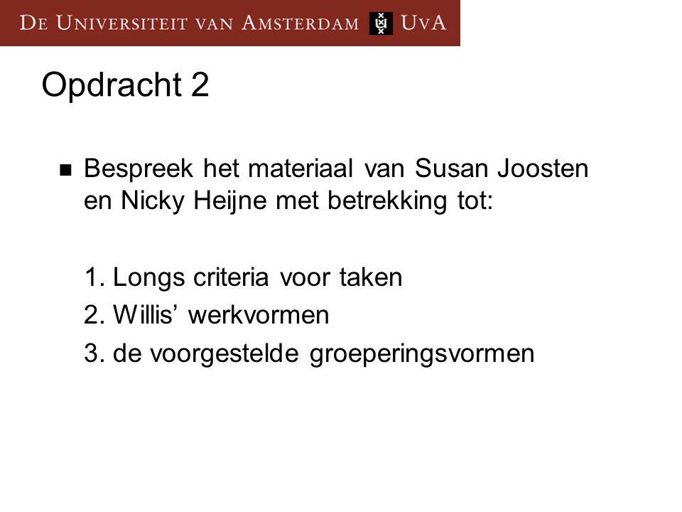 Opdracht 2 Bespreek het materiaal van Susan Joosten en Nicky Heijne met betrekking tot: 1. Longs criteria voor taken.