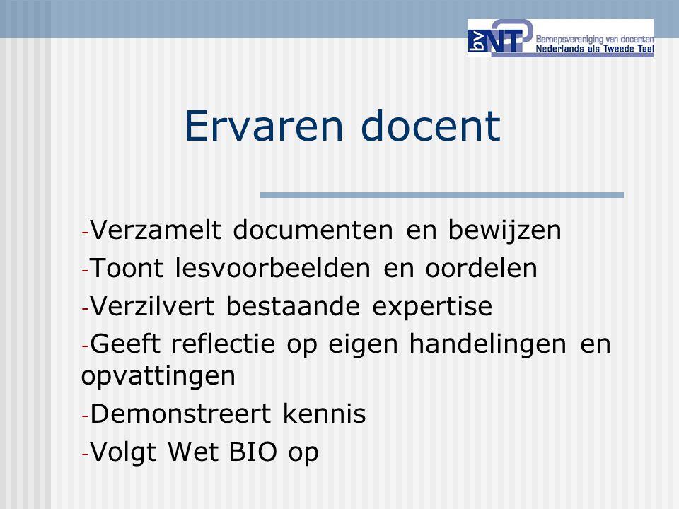Ervaren docent Verzamelt documenten en bewijzen