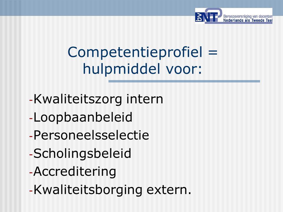 Competentieprofiel = hulpmiddel voor:
