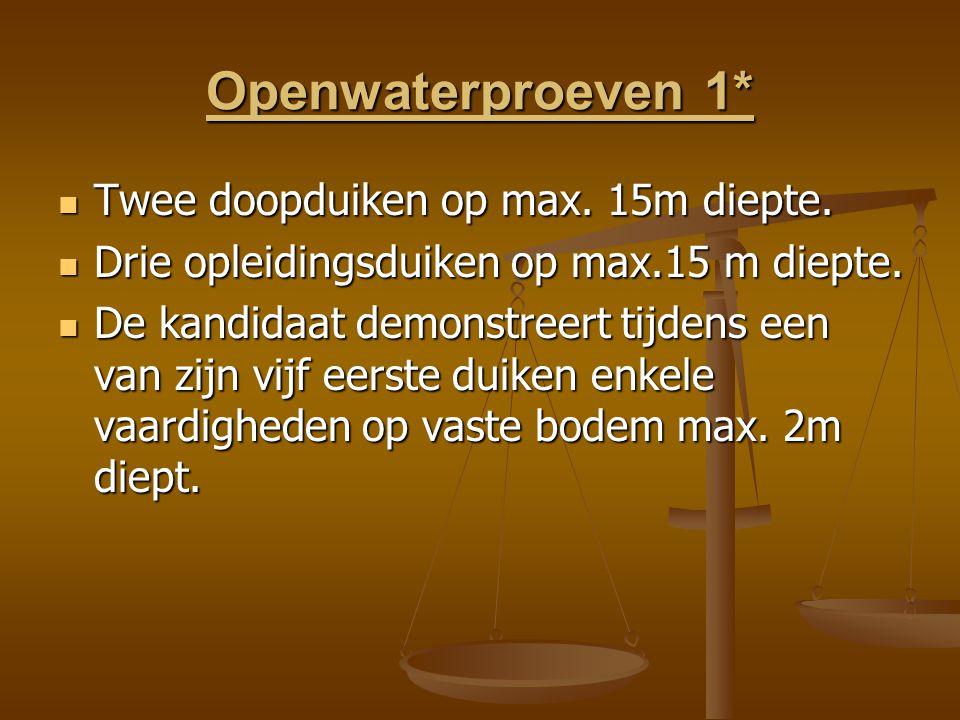 Openwaterproeven 1* Twee doopduiken op max. 15m diepte.