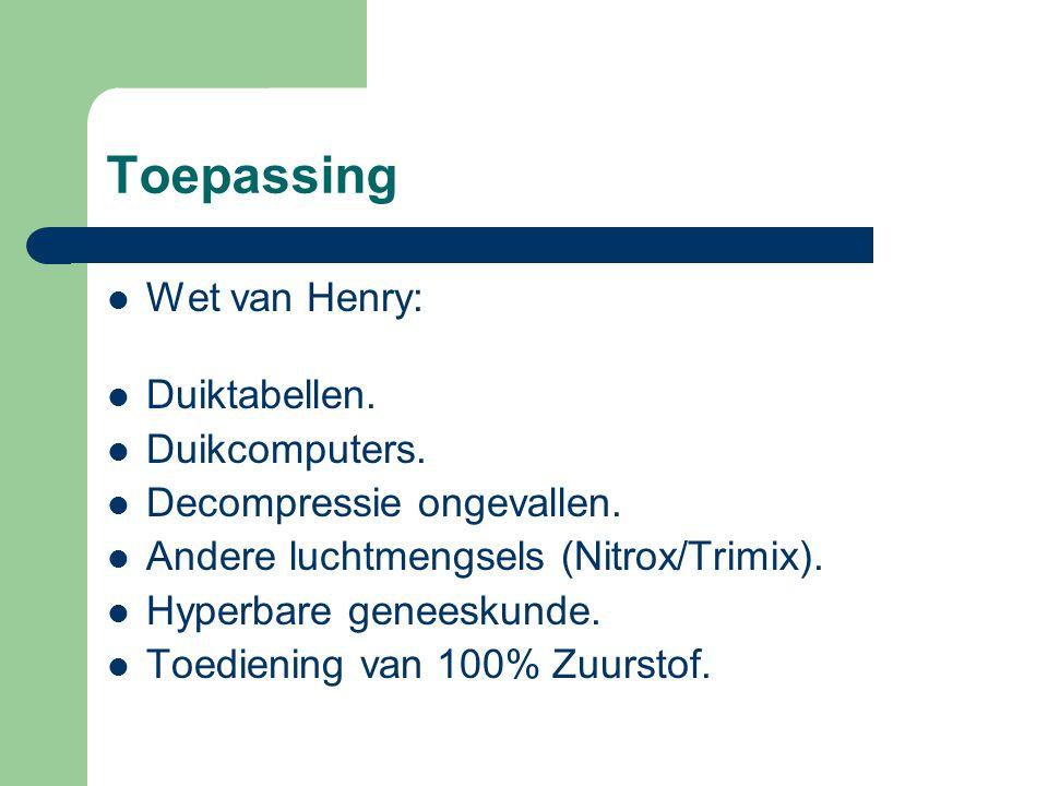 Toepassing Wet van Henry: Duiktabellen. Duikcomputers.