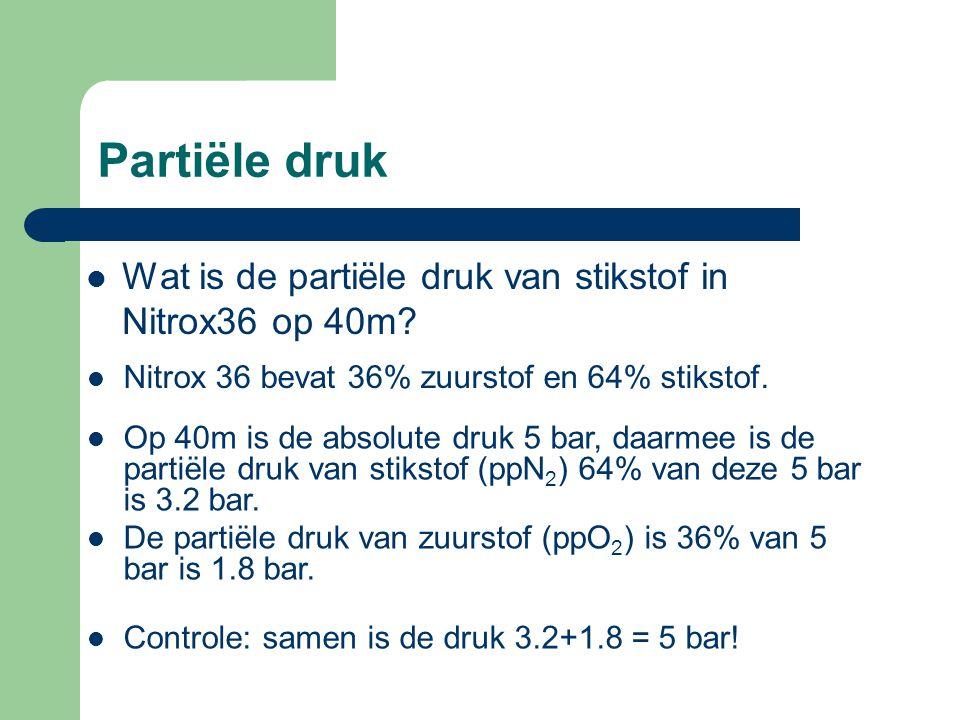 Partiële druk Wat is de partiële druk van stikstof in Nitrox36 op 40m