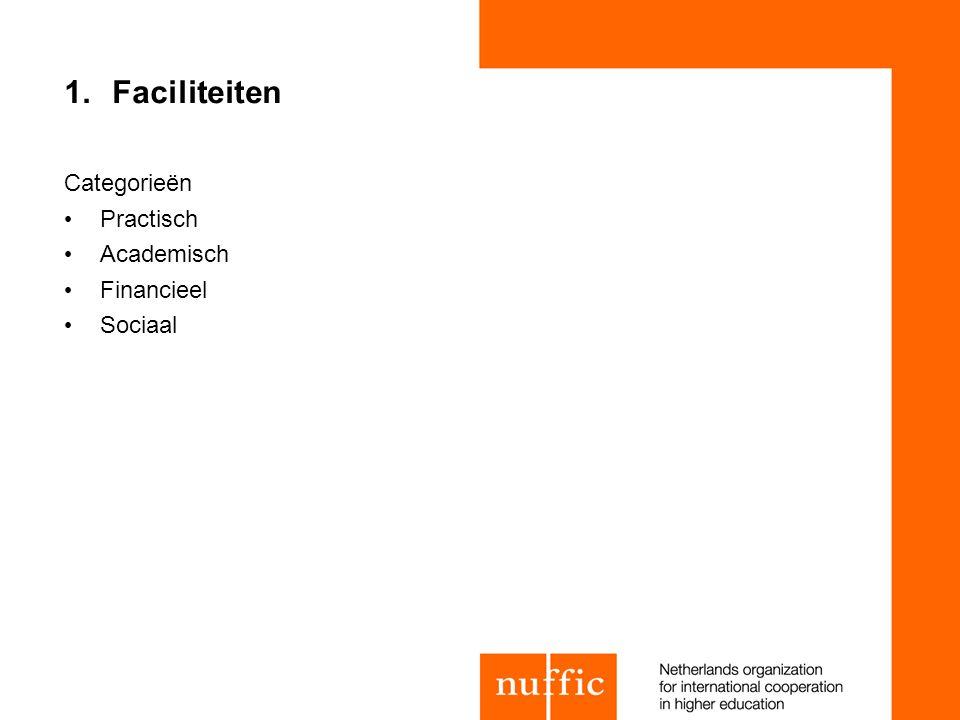 Faciliteiten Categorieën Practisch Academisch Financieel Sociaal 22