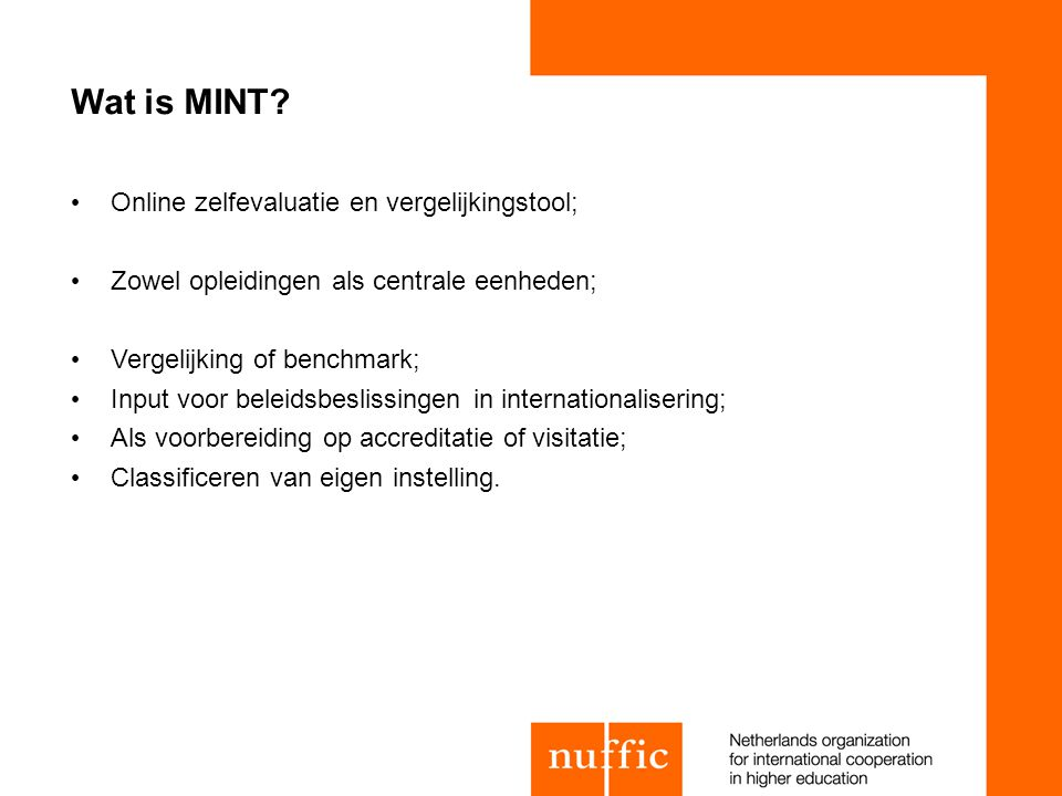 Wat is MINT Online zelfevaluatie en vergelijkingstool;