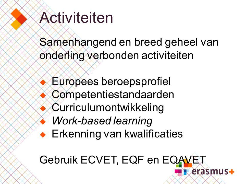 Activiteiten Samenhangend en breed geheel van onderling verbonden activiteiten. Europees beroepsprofiel.