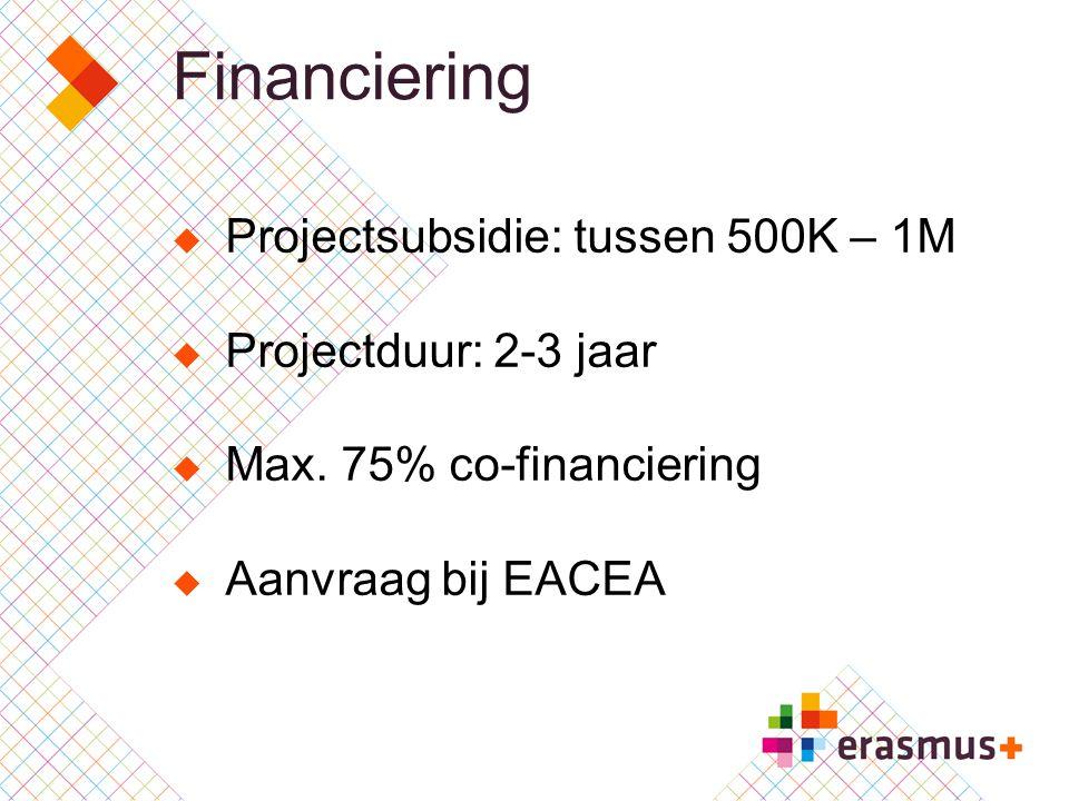 Financiering Projectsubsidie: tussen 500K – 1M Projectduur: 2-3 jaar