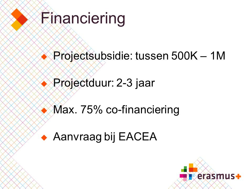 Financiering Projectsubsidie: tussen 500K – 1M Projectduur: 2-3 jaar