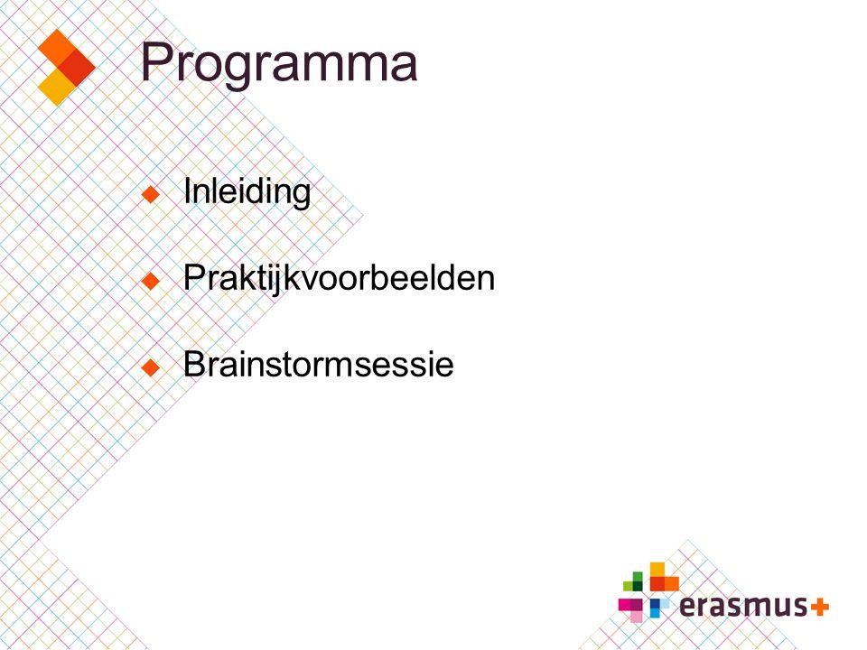 Programma Inleiding Praktijkvoorbeelden Brainstormsessie
