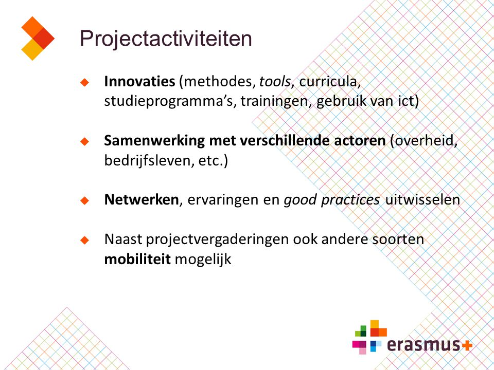 Projectactiviteiten Innovaties (methodes, tools, curricula, studieprogramma's, trainingen, gebruik van ict)