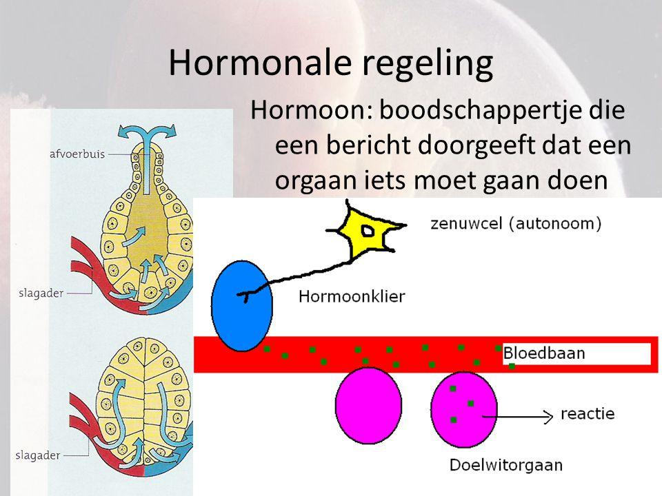 Hormonale regeling Hormoon: boodschappertje die een bericht doorgeeft dat een orgaan iets moet gaan doen.