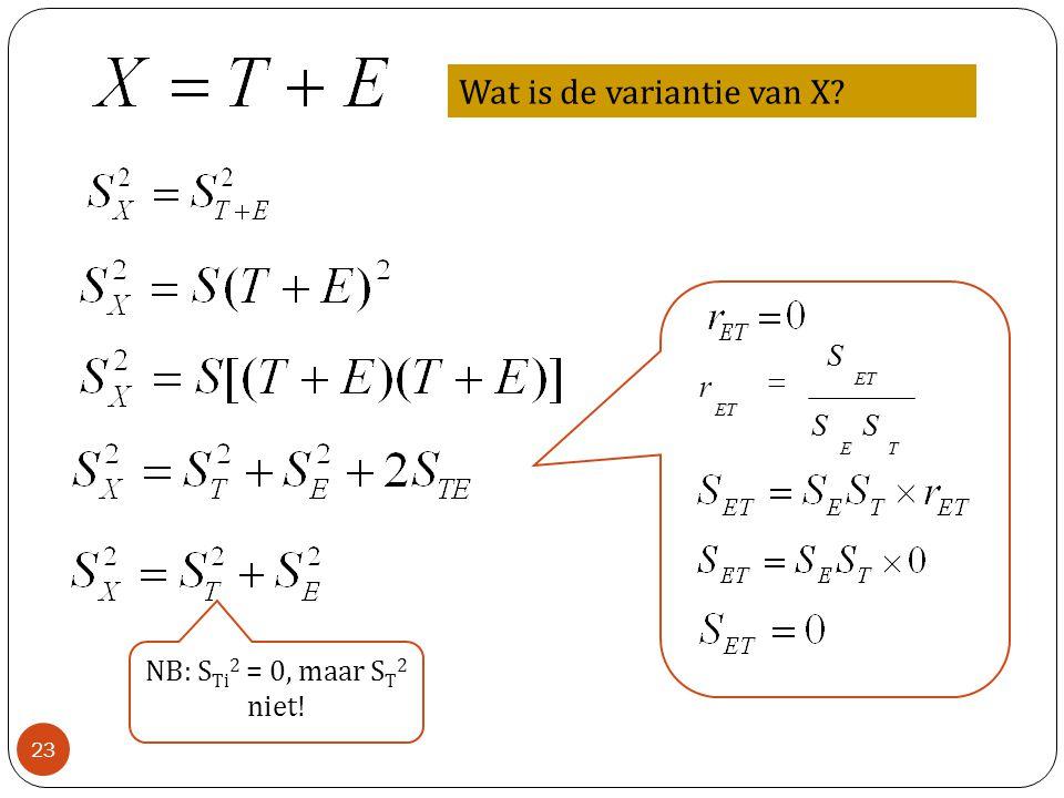 Wat is de variantie van X