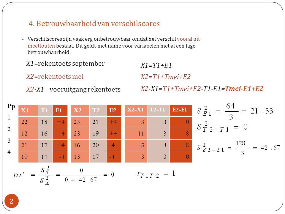 4. Betrouwbaarheid van verschilscores