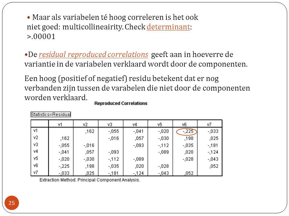 Maar als variabelen té hoog correleren is het ook niet goed: multicollineairity. Check determinant: >.00001