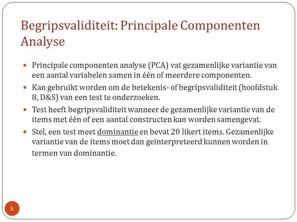 Begripsvaliditeit: Principale Componenten Analyse