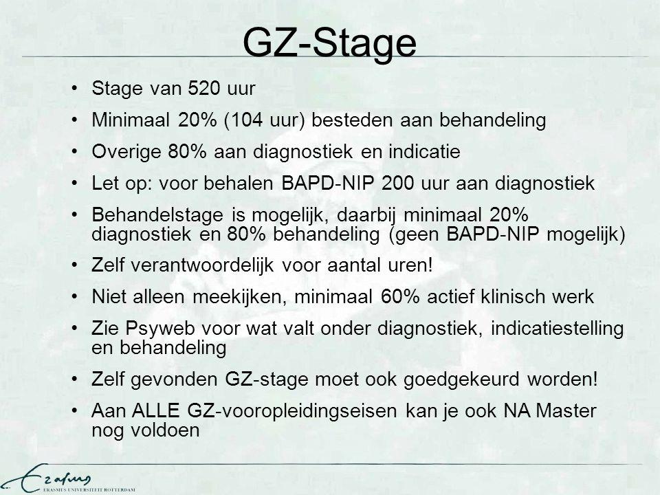 GZ-Stage Stage van 520 uur. Minimaal 20% (104 uur) besteden aan behandeling. Overige 80% aan diagnostiek en indicatie.