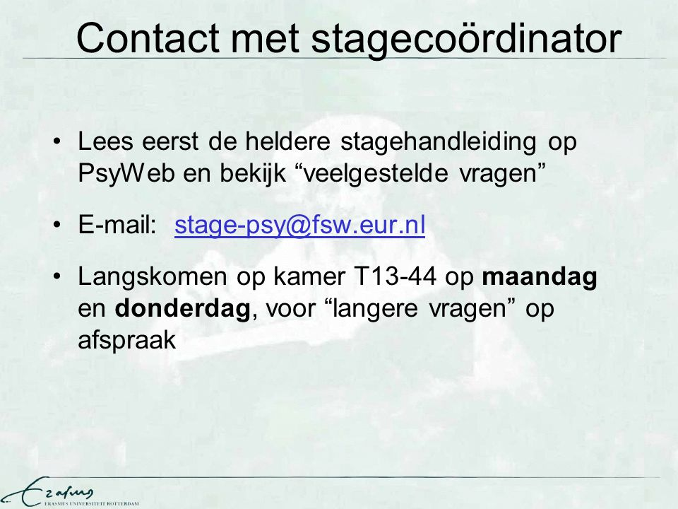 Contact met stagecoördinator