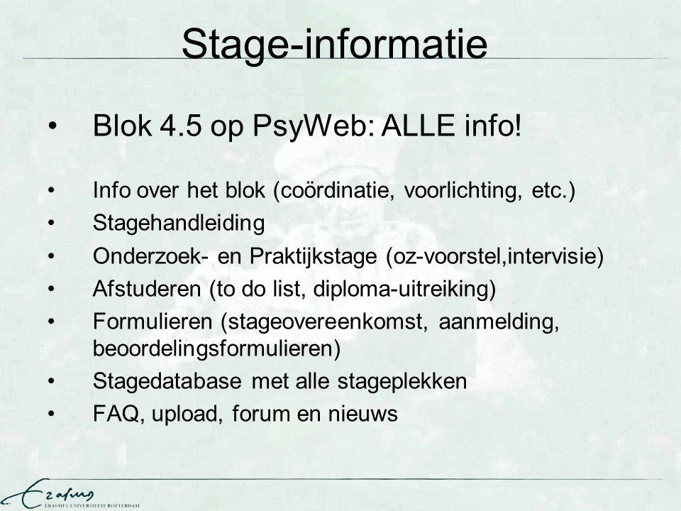 Stage-informatie Blok 4.5 op PsyWeb: ALLE info!