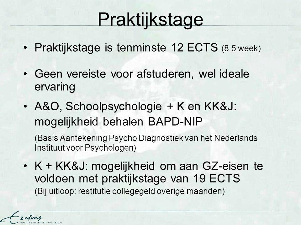 Praktijkstage Praktijkstage is tenminste 12 ECTS (8.5 week)