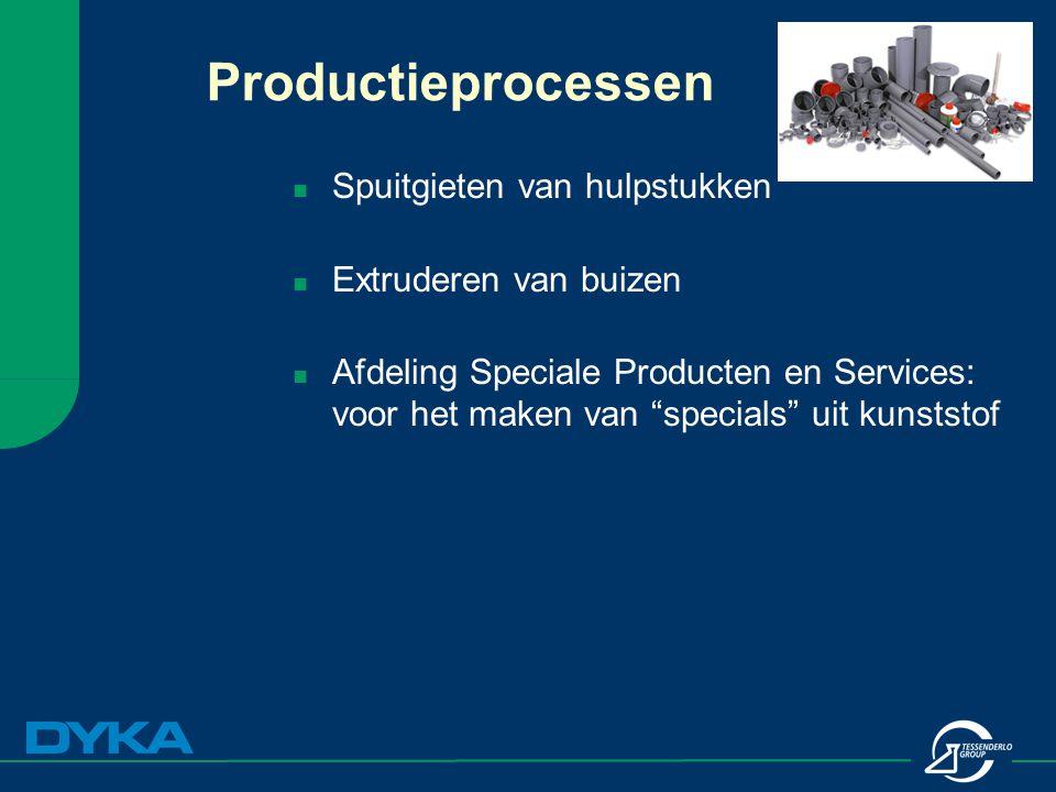 Productieprocessen Spuitgieten van hulpstukken Extruderen van buizen