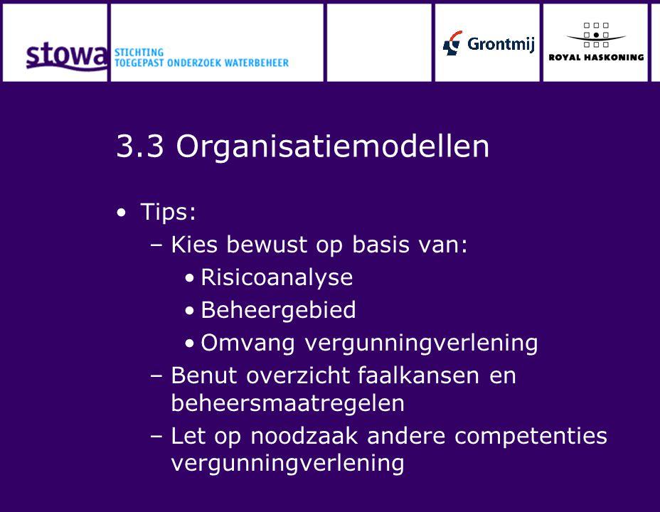3.3 Organisatiemodellen Tips: Kies bewust op basis van: Risicoanalyse