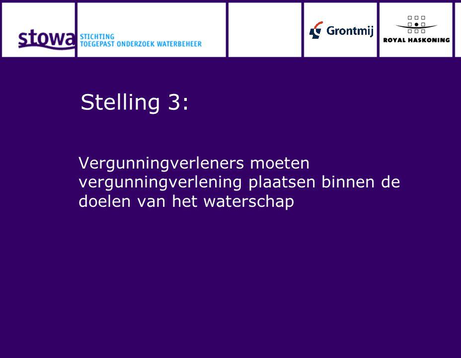 Stelling 3: Vergunningverleners moeten vergunningverlening plaatsen binnen de doelen van het waterschap.