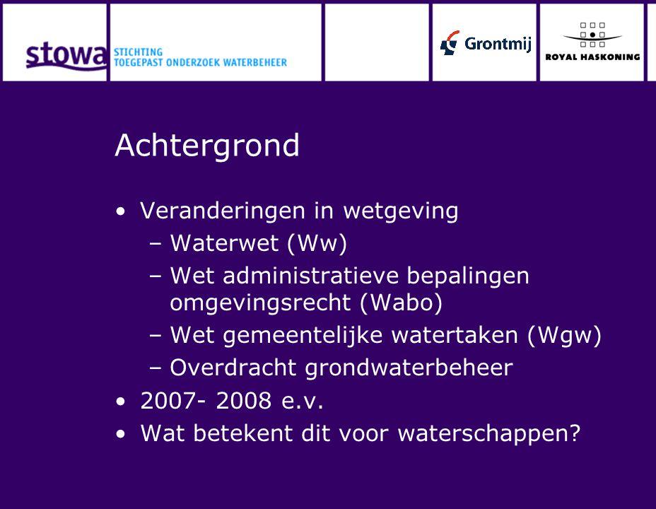 Achtergrond Veranderingen in wetgeving Waterwet (Ww)