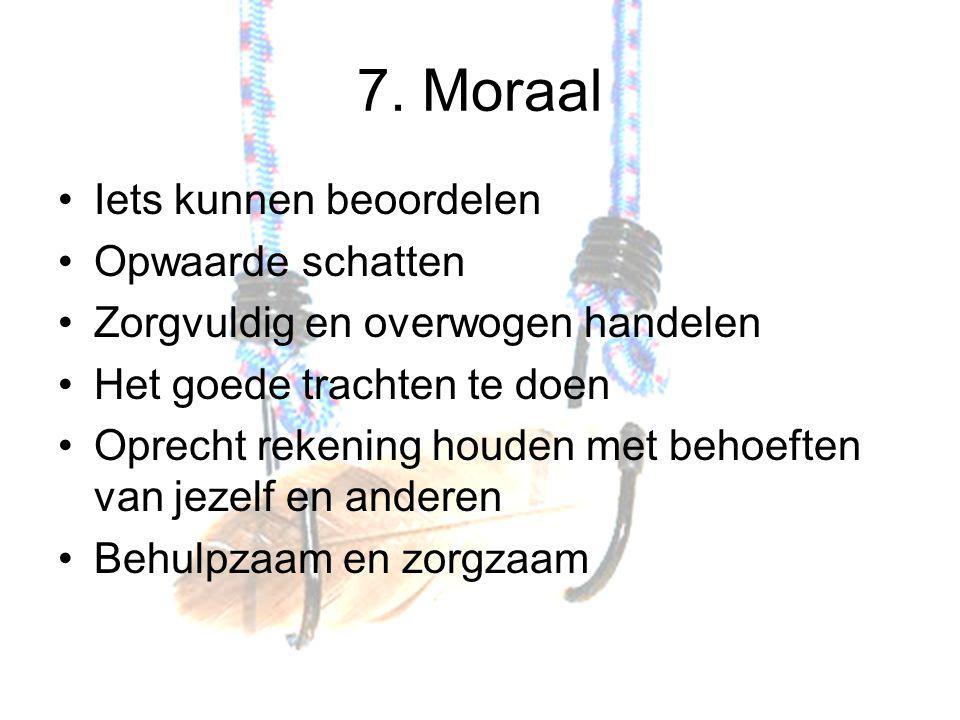 7. Moraal Iets kunnen beoordelen Opwaarde schatten