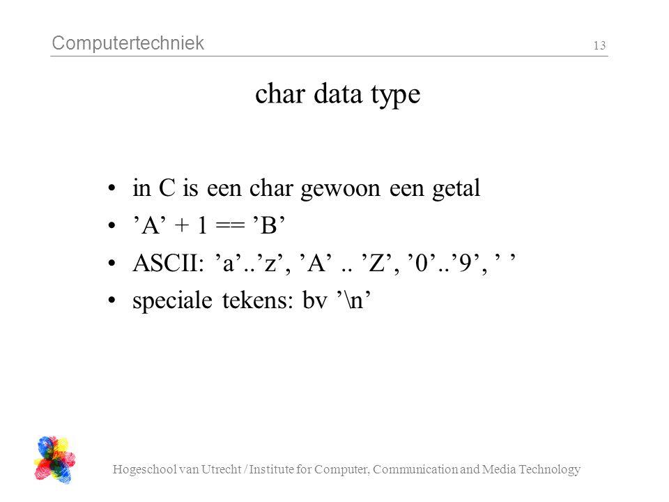 char data type in C is een char gewoon een getal 'A' + 1 == 'B'