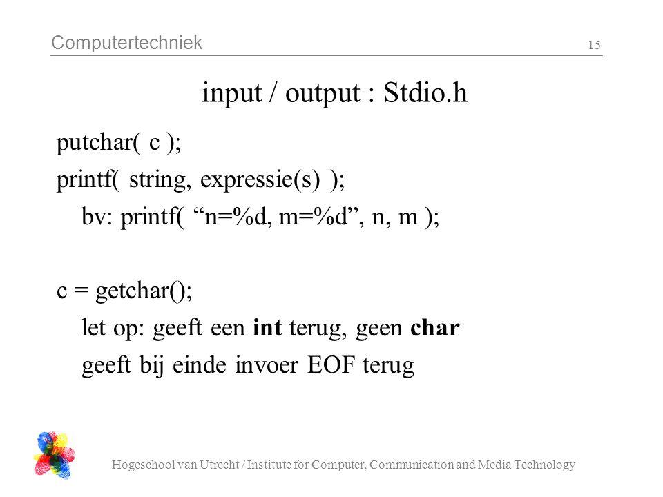 input / output : Stdio.h putchar( c ); printf( string, expressie(s) );
