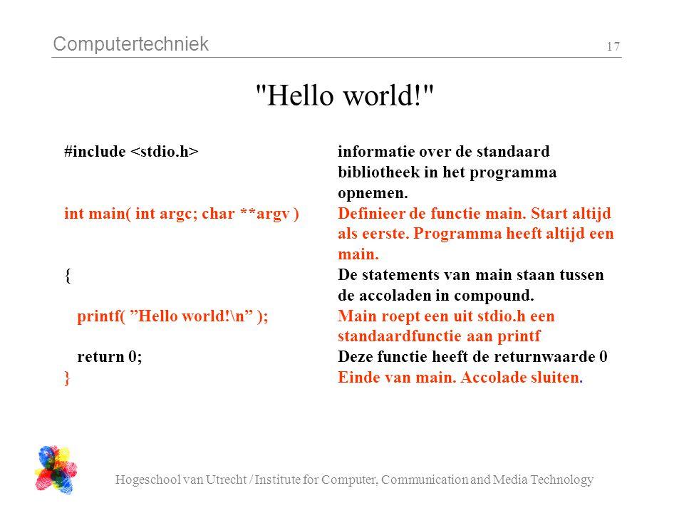 Hello world! #include <stdio.h> informatie over de standaard bibliotheek in het programma opnemen.