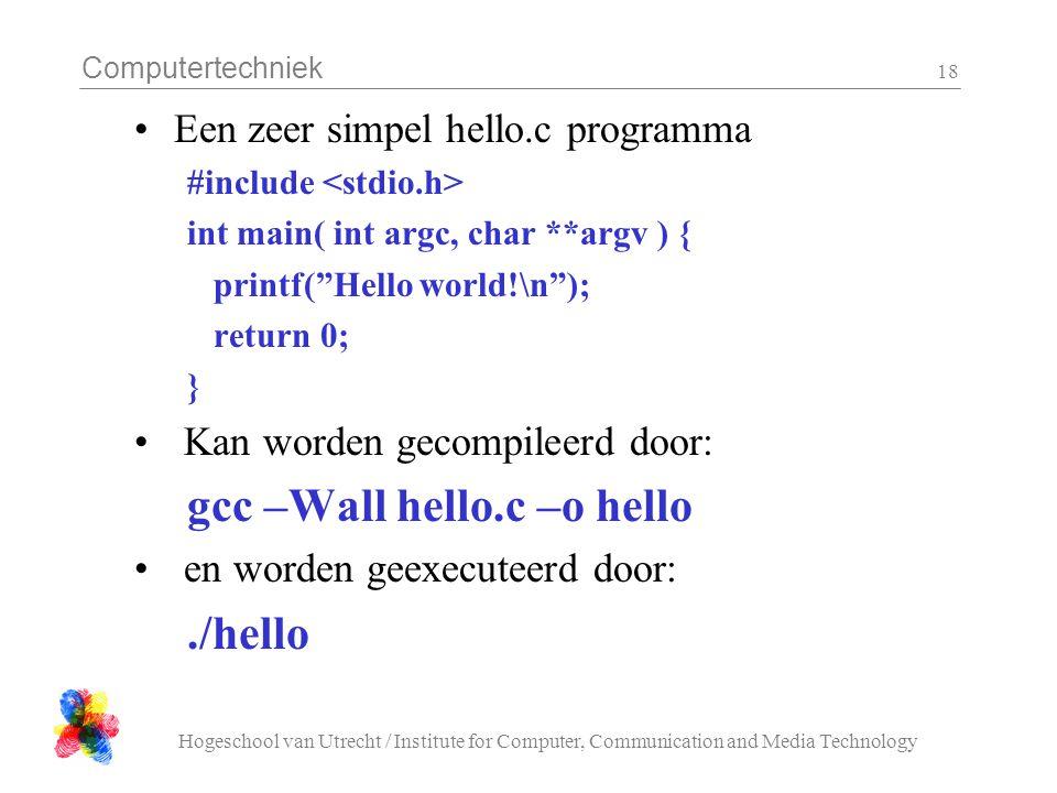 gcc –Wall hello.c –o hello ./hello