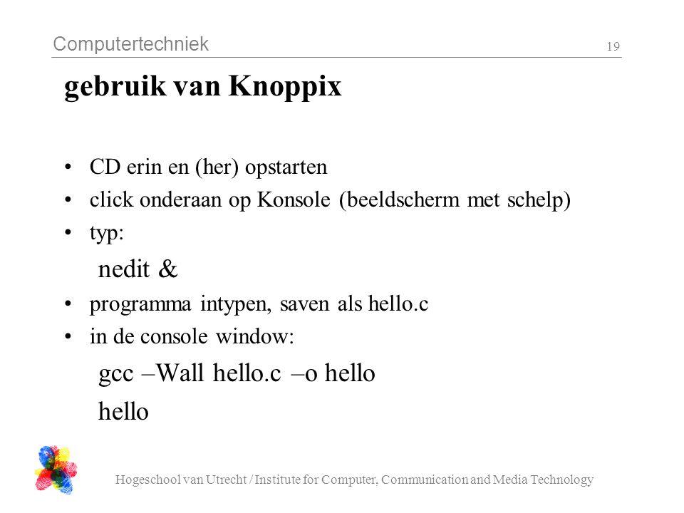 gebruik van Knoppix nedit & gcc –Wall hello.c –o hello hello