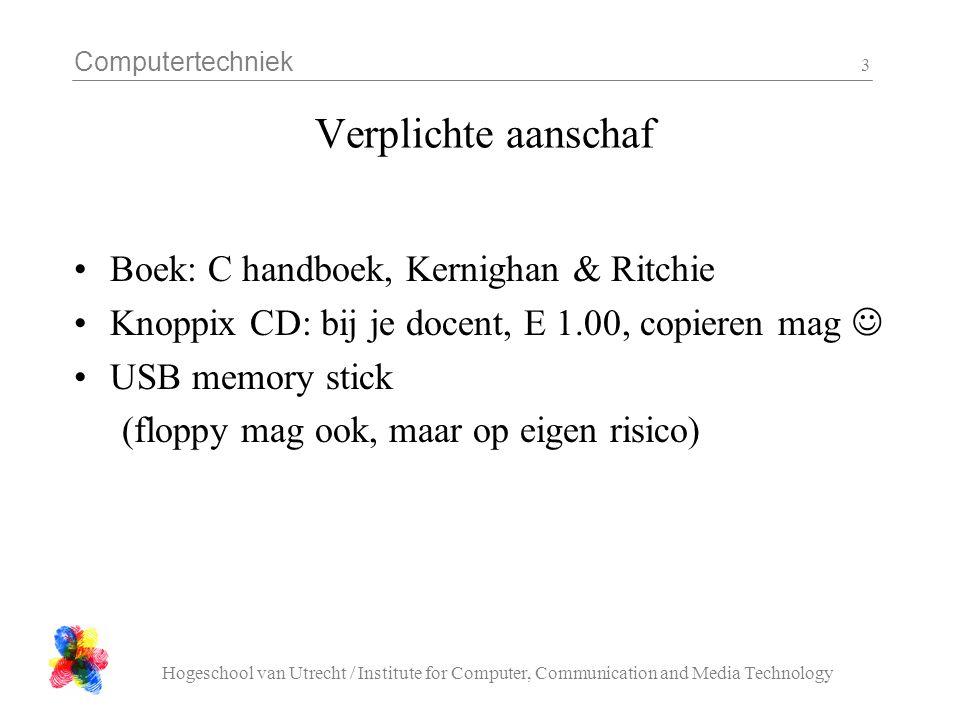Verplichte aanschaf Boek: C handboek, Kernighan & Ritchie