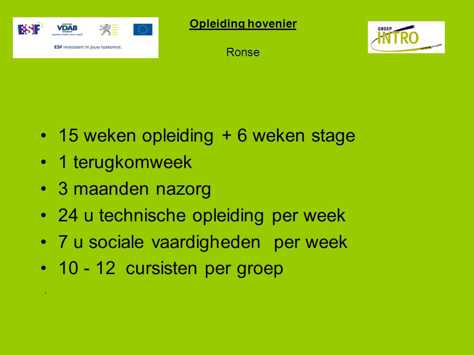 Opleiding hovenier Ronse
