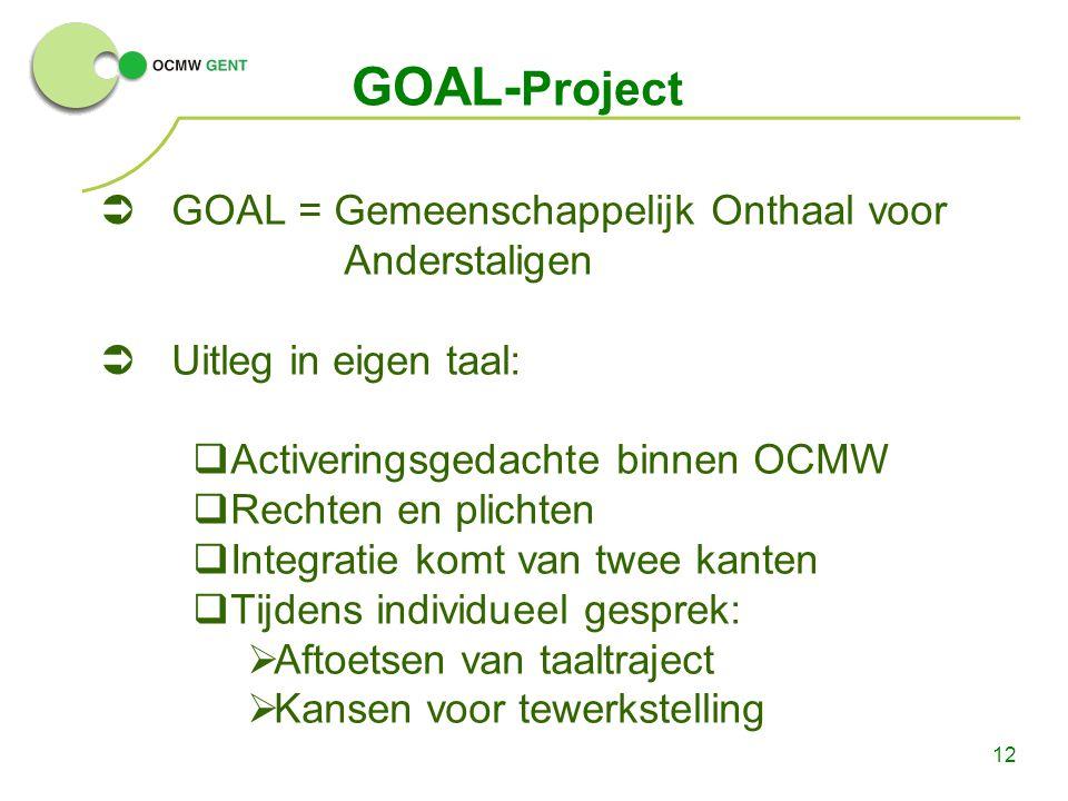 GOAL-Project GOAL = Gemeenschappelijk Onthaal voor Anderstaligen