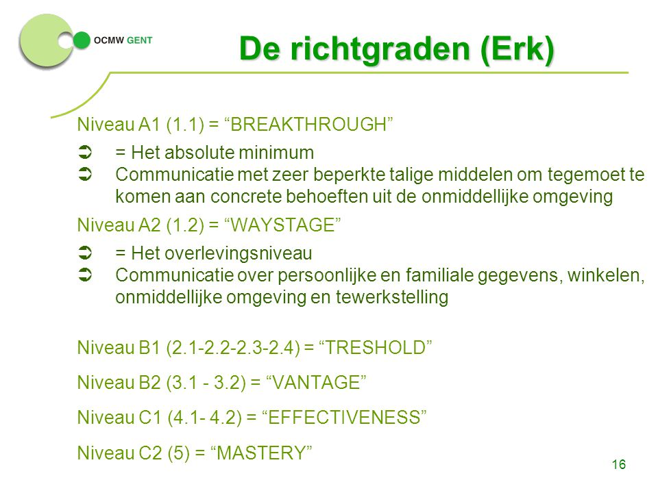 De richtgraden (Erk) Niveau A1 (1.1) = BREAKTHROUGH