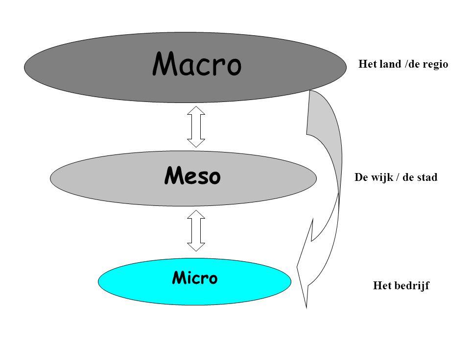 Macro Meso Micro Het land /de regio De stad/de regio De wijk / de stad