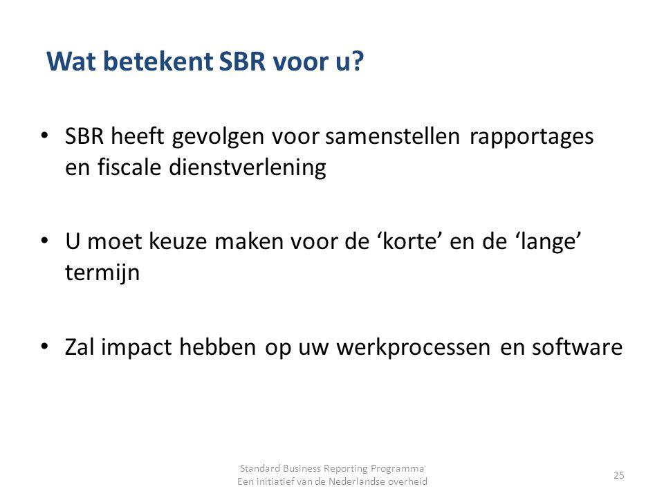 Wat betekent SBR voor u SBR heeft gevolgen voor samenstellen rapportages en fiscale dienstverlening.