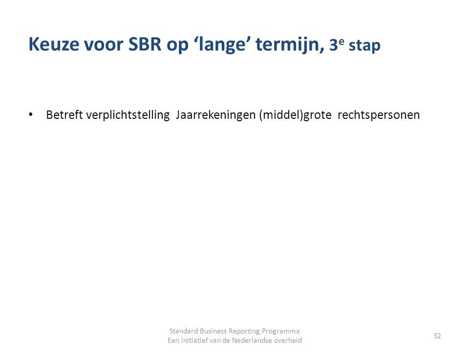 Keuze voor SBR op 'lange' termijn, 3e stap