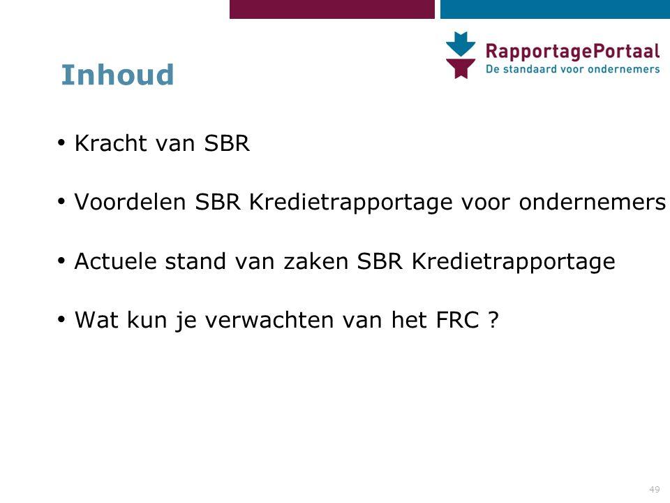 Inhoud Kracht van SBR Voordelen SBR Kredietrapportage voor ondernemers