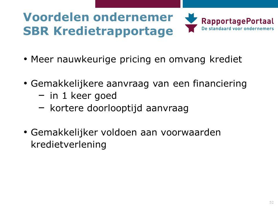 Voordelen ondernemer SBR Kredietrapportage