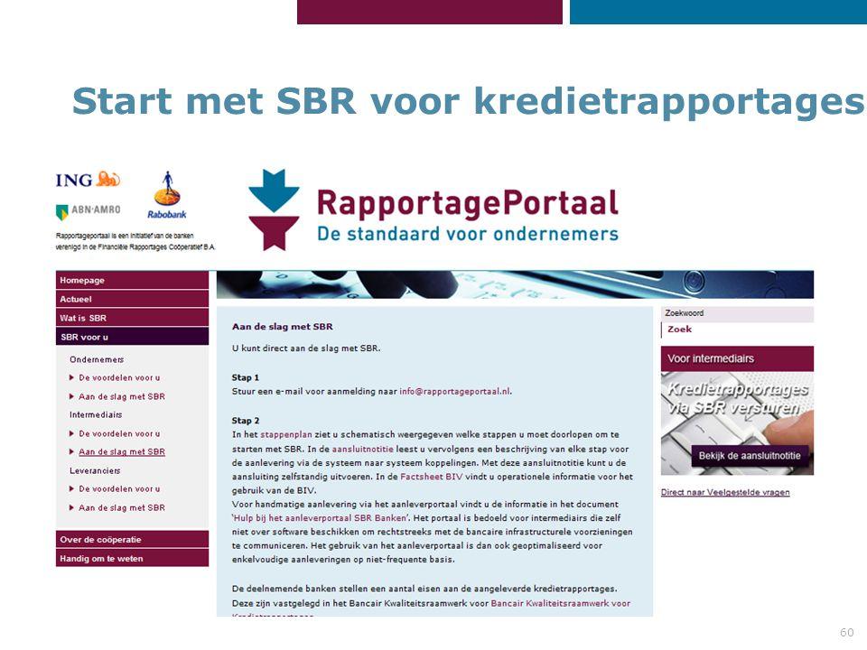 Start met SBR voor kredietrapportages