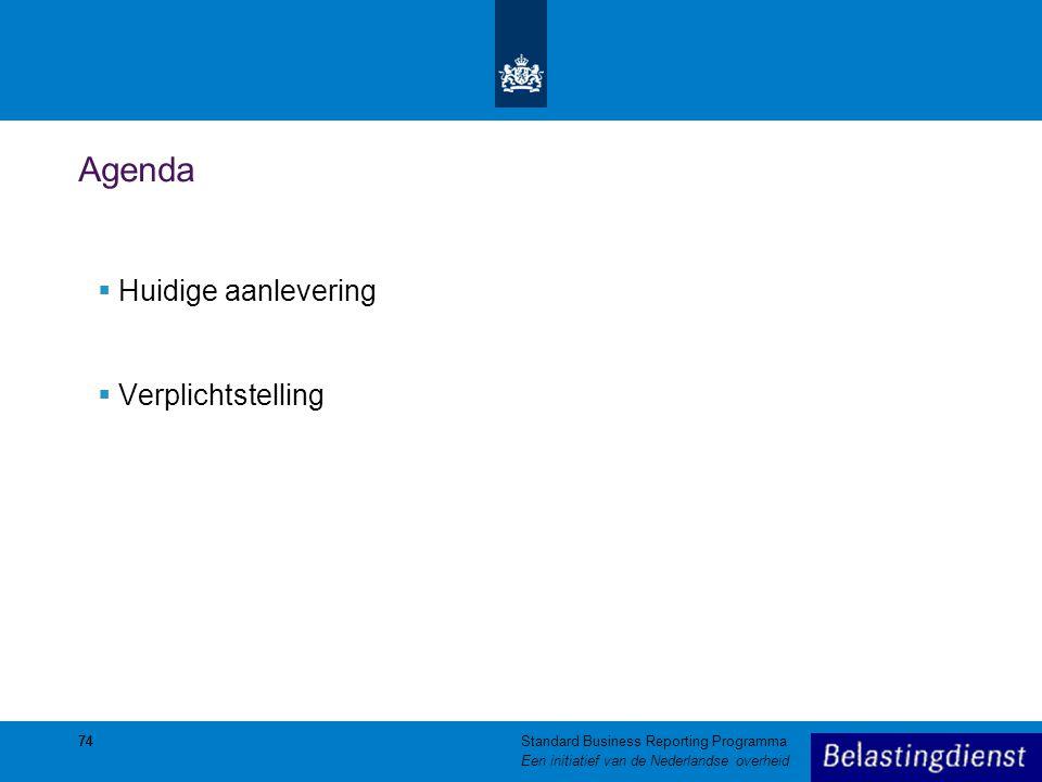 Agenda Huidige aanlevering Verplichtstelling 74