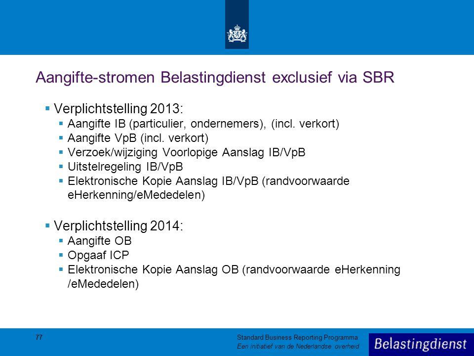 Aangifte-stromen Belastingdienst exclusief via SBR