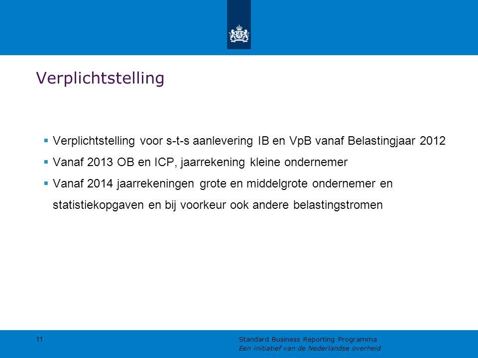 Verplichtstelling Verplichtstelling voor s-t-s aanlevering IB en VpB vanaf Belastingjaar 2012. Vanaf 2013 OB en ICP, jaarrekening kleine ondernemer.