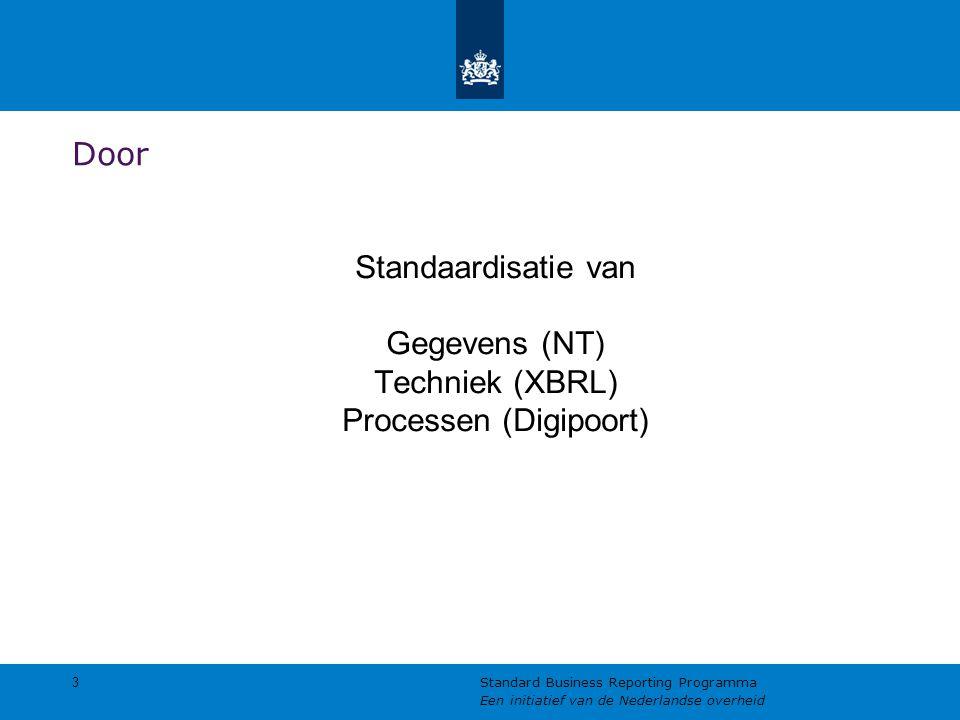 Door Standaardisatie van Gegevens (NT) Techniek (XBRL) Processen (Digipoort) 3.